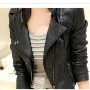 PU Leather  Coat Slim Overcoat Jacket Zipper Punk